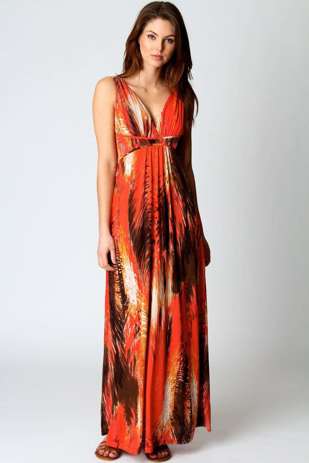 Tiffany v neck printed maxi dress places to shop deals