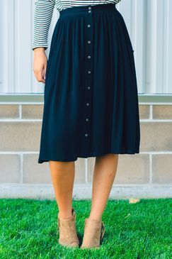 Button Front A-Line Skirt black-a-line-fit-and-flare-skirt-midi-skirt-button-fro... 1