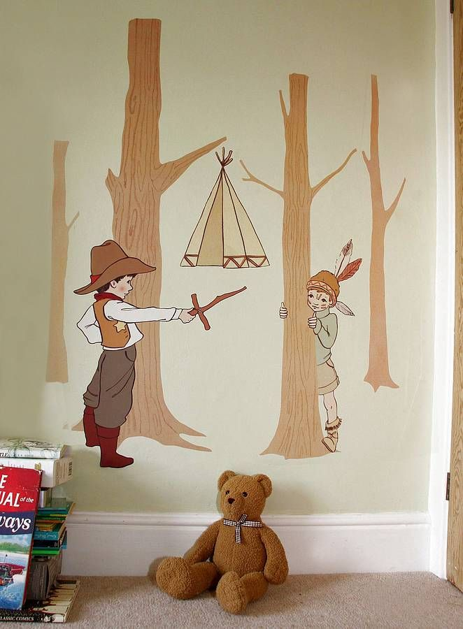 Cowboy Indian Fabric Wall Stickers Cowboys Indians Belle