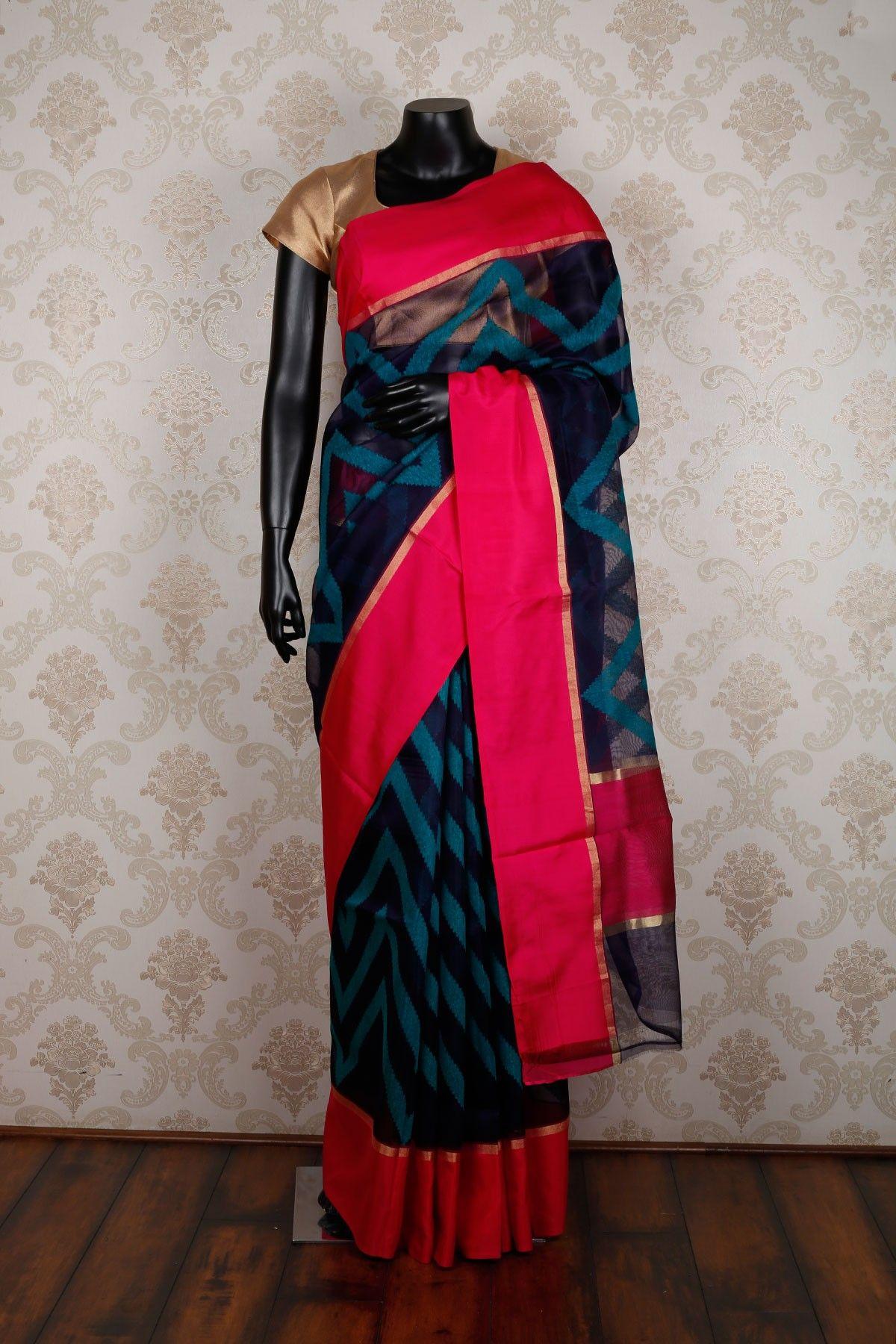 Pure silk saree navy blue u peacock blue pure silk amazing saree with zari