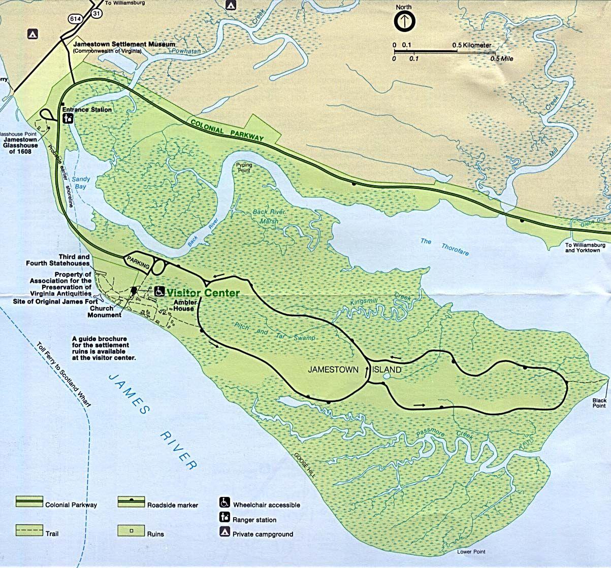 jamestown   Mapa de Relieve de Colonial Jamestown Island, Virginia ...