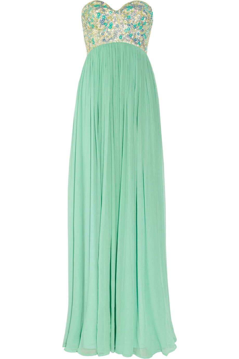 Rachel Gilbert Sonya Sequined-Bodice Silk-Crepe Gown. I love it ...
