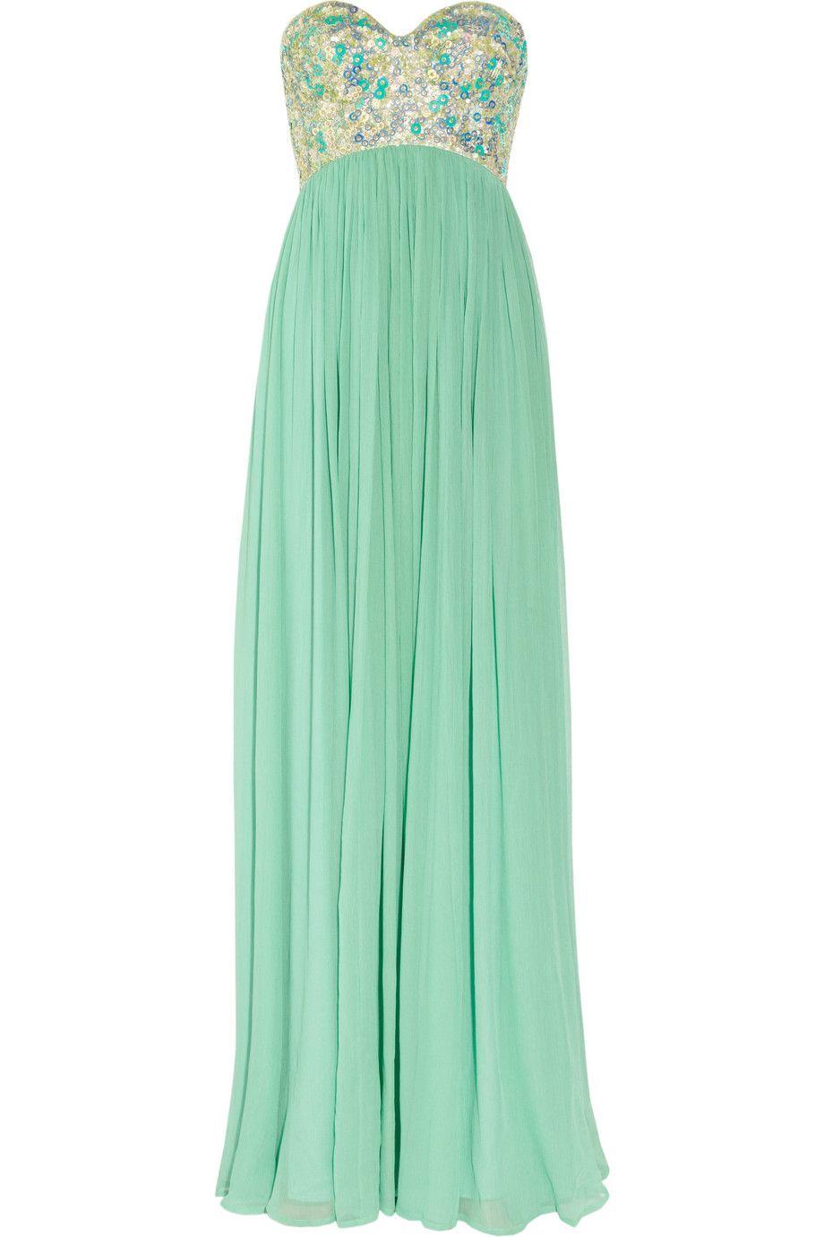 Rachel Gilbert Sonya Sequined-Bodice Silk-Crepe Gown