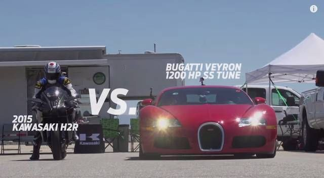 Kawasaki Ninja H2R Bike Faces Off With McLaren MP4 12C Tuned Bugatti Veyron