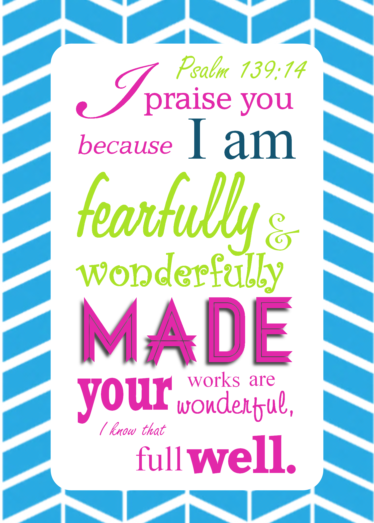 psalm 13914 modern scripture printable i am