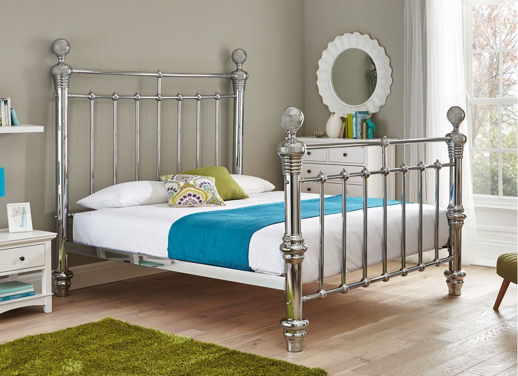 Quinn Chrome Plated Metal Bed Frame Super King Metal Bed Frame White Metal Bed King Bed Frame