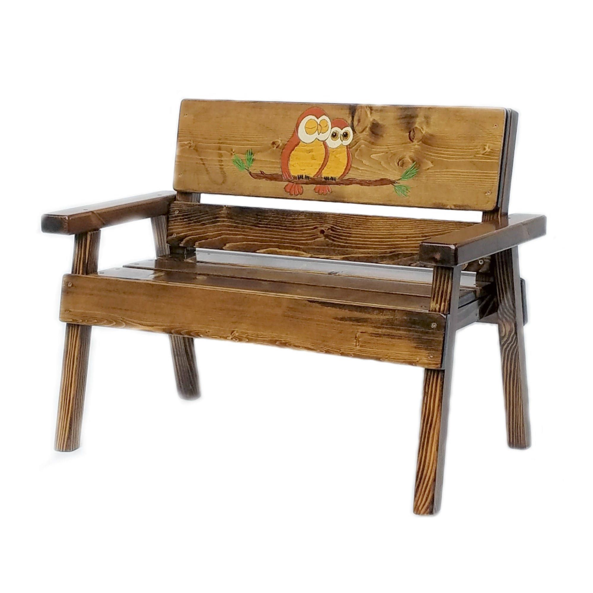 Owl Wood Bench Childrens Outdoor Furniture Kids Toddler Recycled