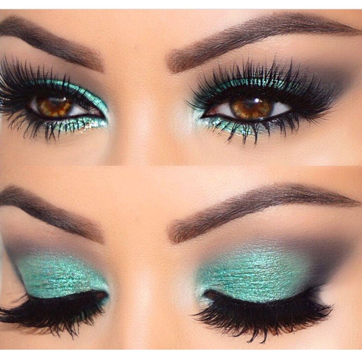 Teal eyeshadow ( I soooooo want that color) Eye makeup