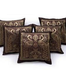 Buy Peacock Design Brown Brocade 5pc Cushion Cover Set Other Home