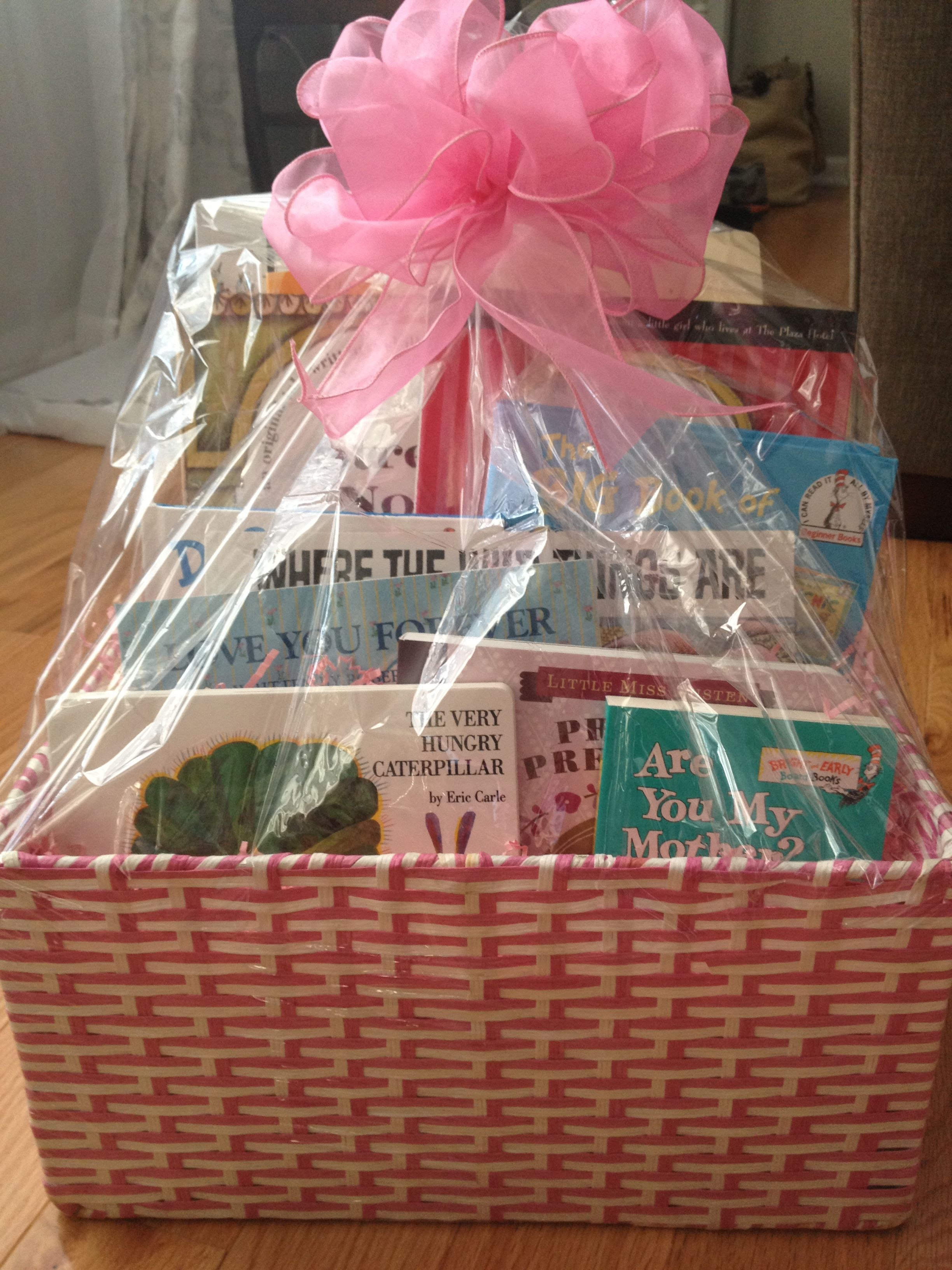 Put Books In Gift Basket Along With Other Items Books What A Great Idea Baby Shower Gift Basket Book Gift Basket Kids Gift Baskets