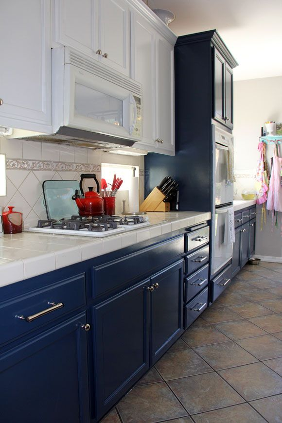 Painted Dark Blue Kitchen Cabinets
