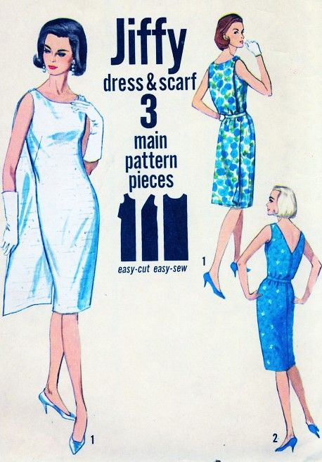 60s STUNNING Sheath Dress and Floating Back Panel Pattern Simplicity Jiffy 5543 2 Style Versions With Back Panel or V Neckline Day or Cocktail Party Dress Bust 32 Vintage Sewing Pattern FACTORY FOLDED
