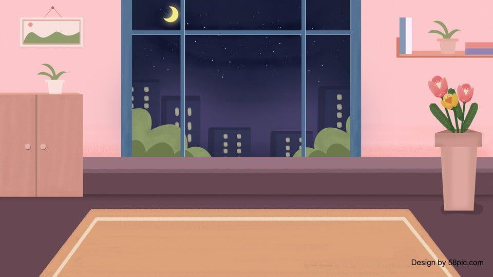 Fresh Cartoon Home Living Room Background Design Di 2020 Kartun