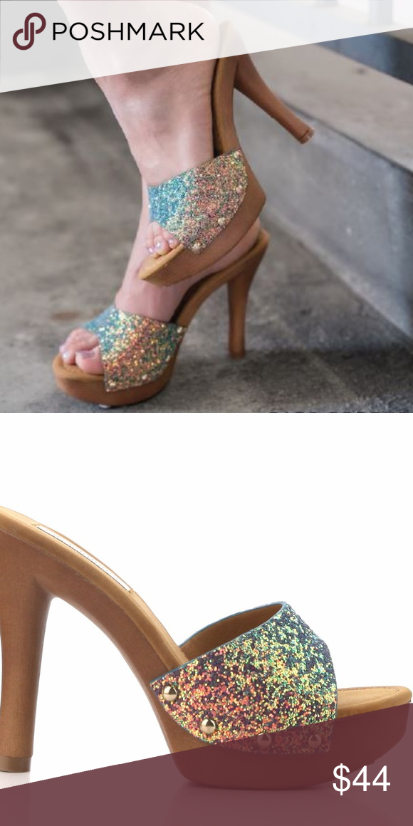 a004a4abdbde27 Candies style mermaid glitter mule Mermaid glitter style mule Cape Robbin  Shoes Mules   Clogs