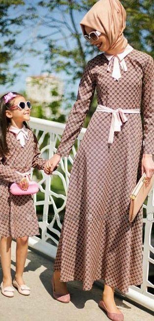 Tesettur Anne Kiz Elbiseleri Maksi Elbiseler Islami Giyim Kadin Giyim