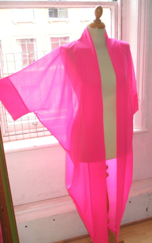 Baylis u knight hot pink chiffon long maxi kimono jacket oversize