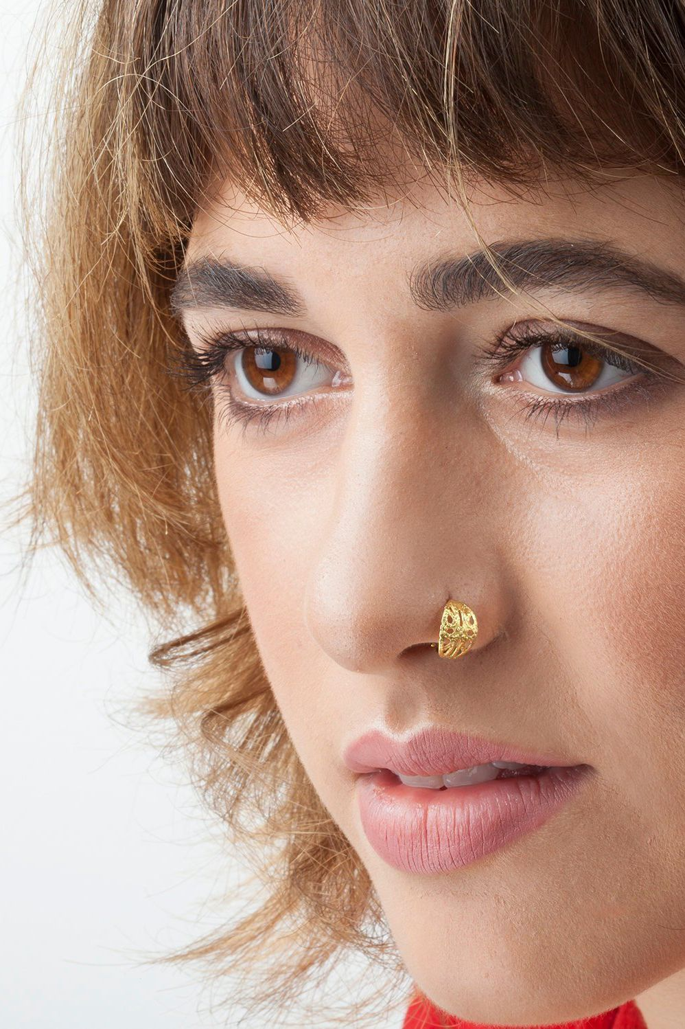 Nose Ring Solid 14k Gold Indian Style Nostril Jewelry The Nose