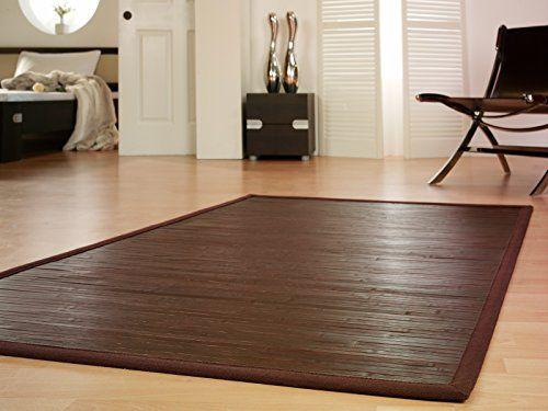 Bambusteppich WENGE 200x300cm, 17mm Stege, breite Bordüre - bambus im wohnzimmer