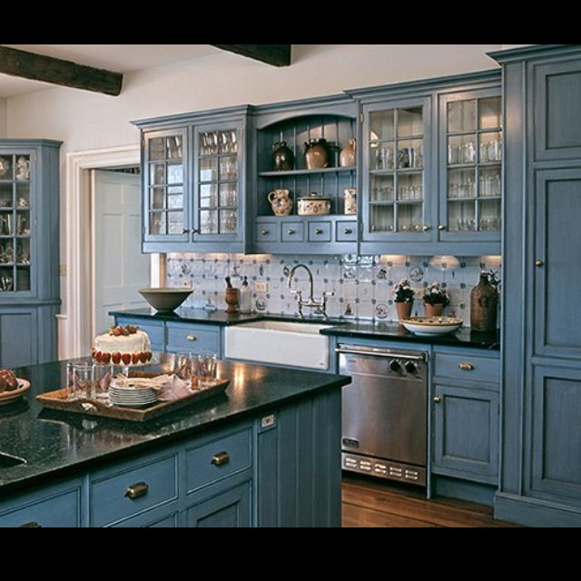 blue cabinets in kitchen blue kitchen design kitchens house and black counters 12474