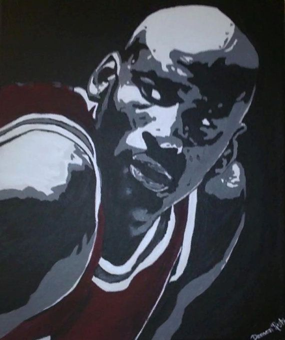 Black white red painting of michael jordan by dshandmadepaintings