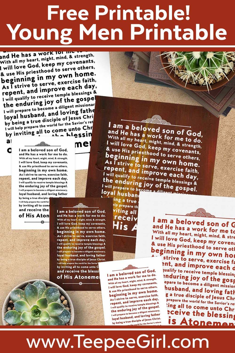 Free Young Men Theme Printables With Images Young Man Lds