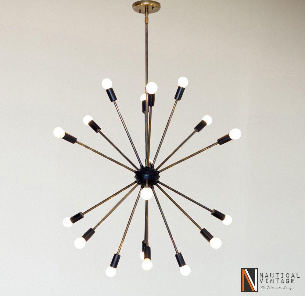 Black And Patina Brass Sputnik Chandelier Fixture Light 18 Arms Lights