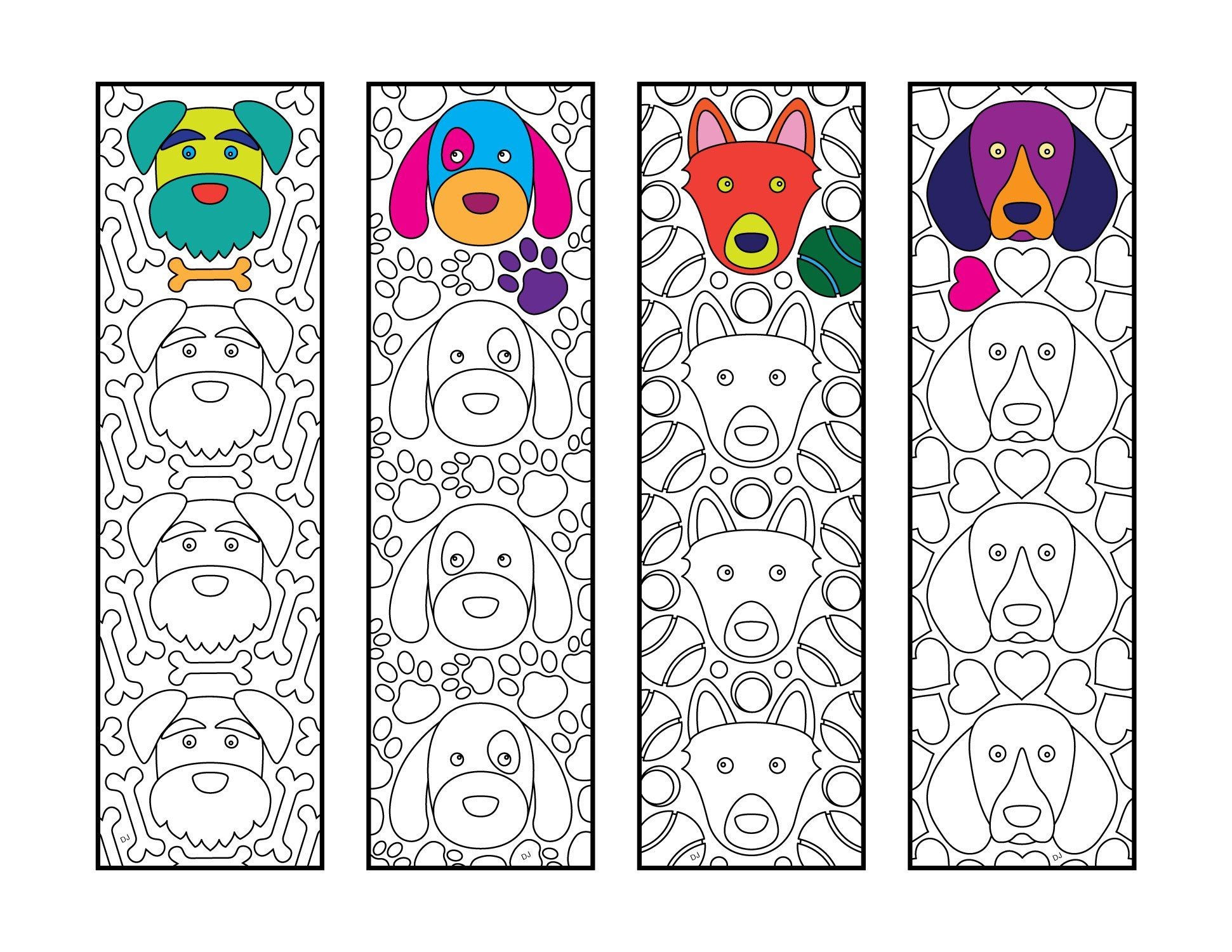 Cute Dog Bookmarks PDF Zentangle Coloring Page