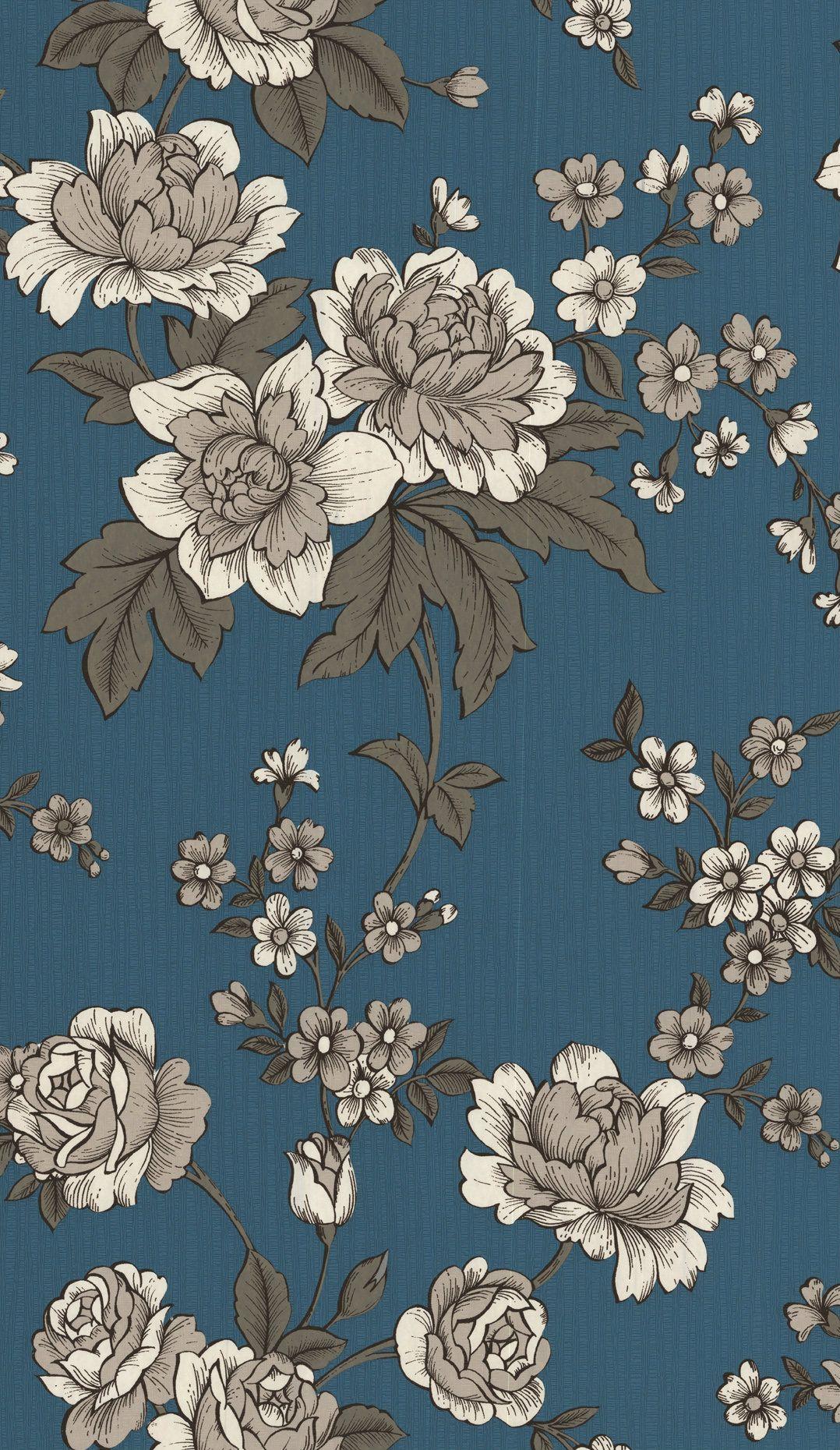 Blue Flowers Wallpaper Blue flower wallpaper, Art