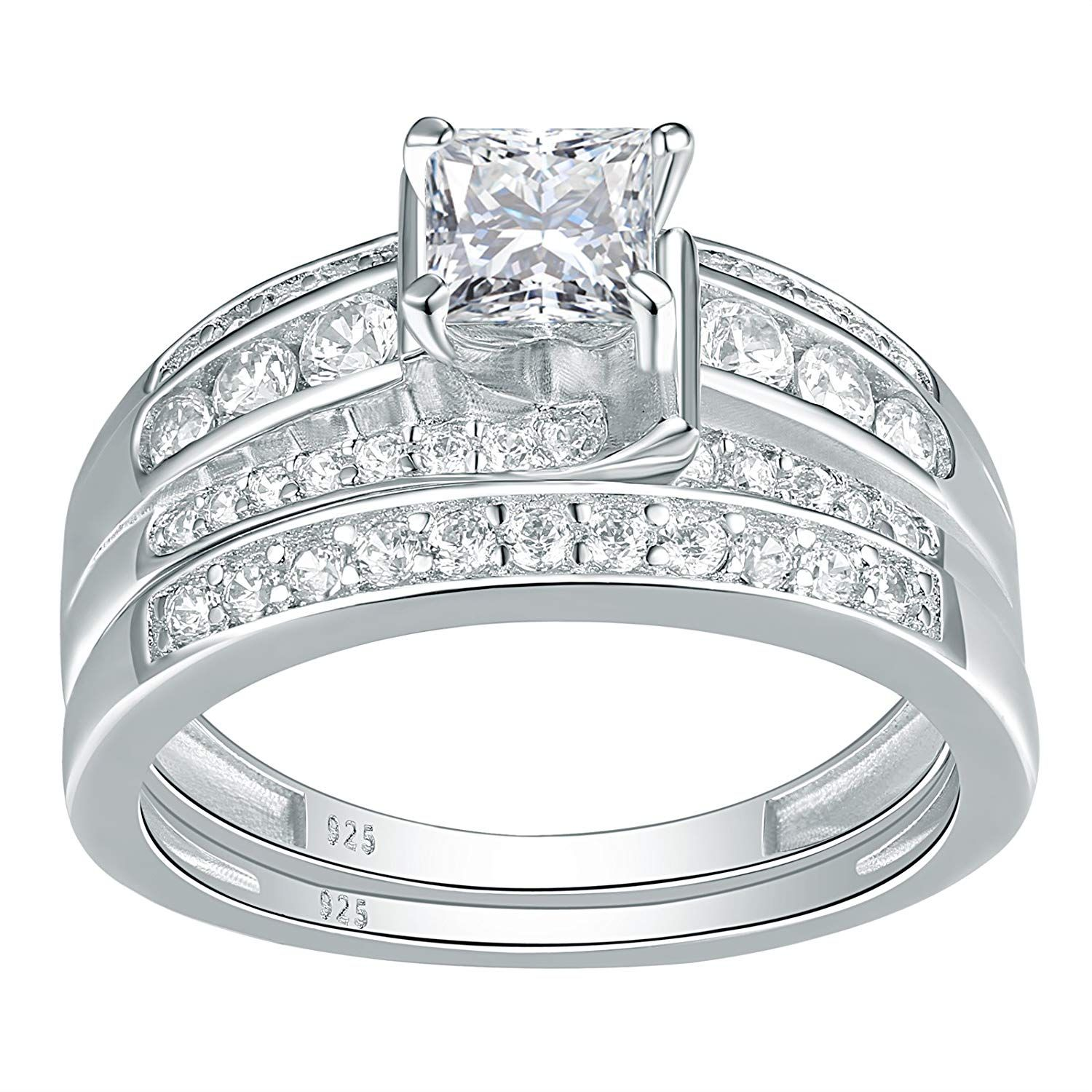 Newshe Jewellery Sterling Silver Cz Wedding Ring Sets