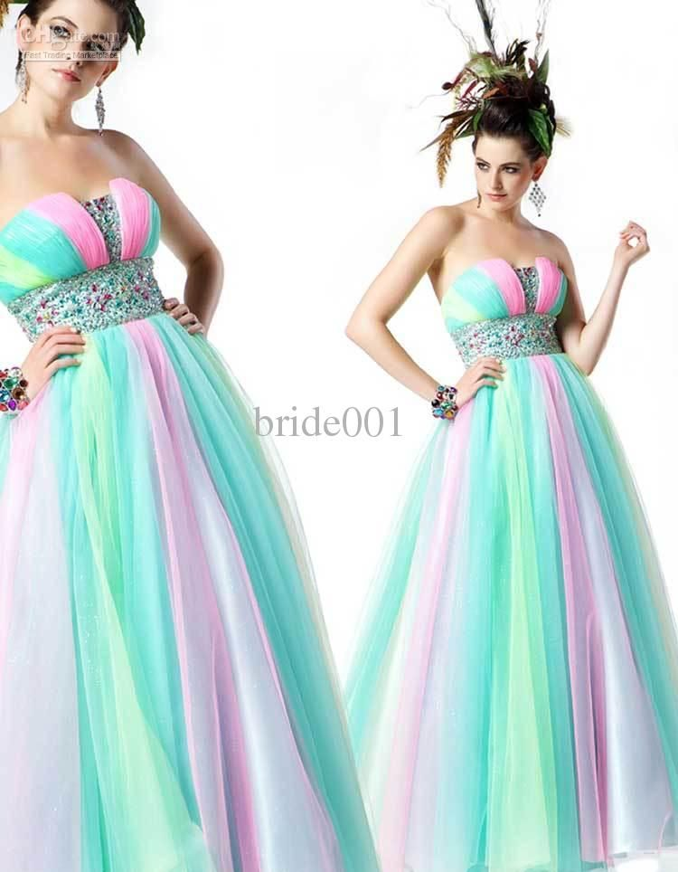 Multi colored prom dresses for sale