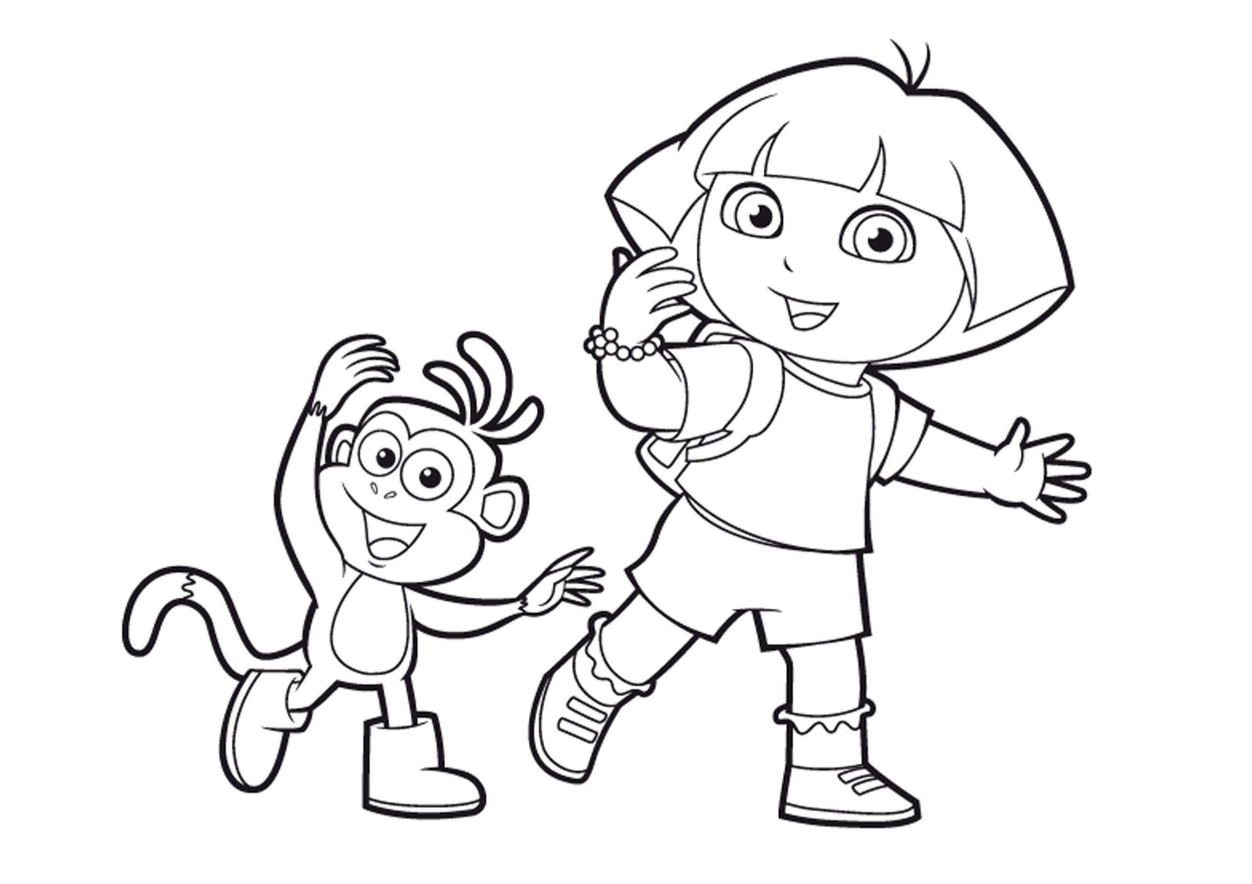 Coloriage Dora A Imprimer Dora Avec Babouche Dora En Coloriage Dora Coloriage Coloriage Gratuit