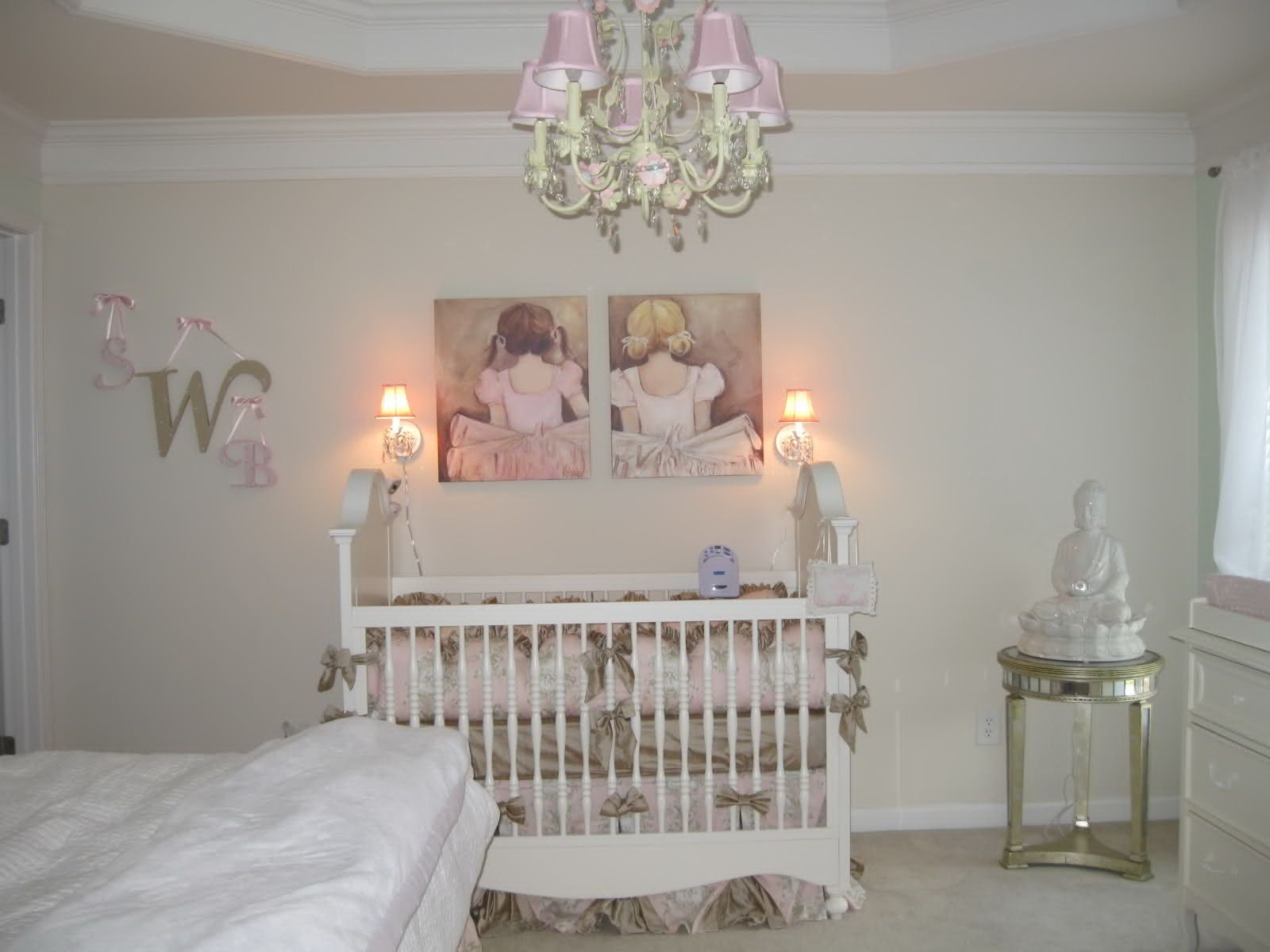 Exceptionnel Beautiful And Safe Baby Room Decoration With Tufted Crib Decorated With  Ballerina Girls Painting And A