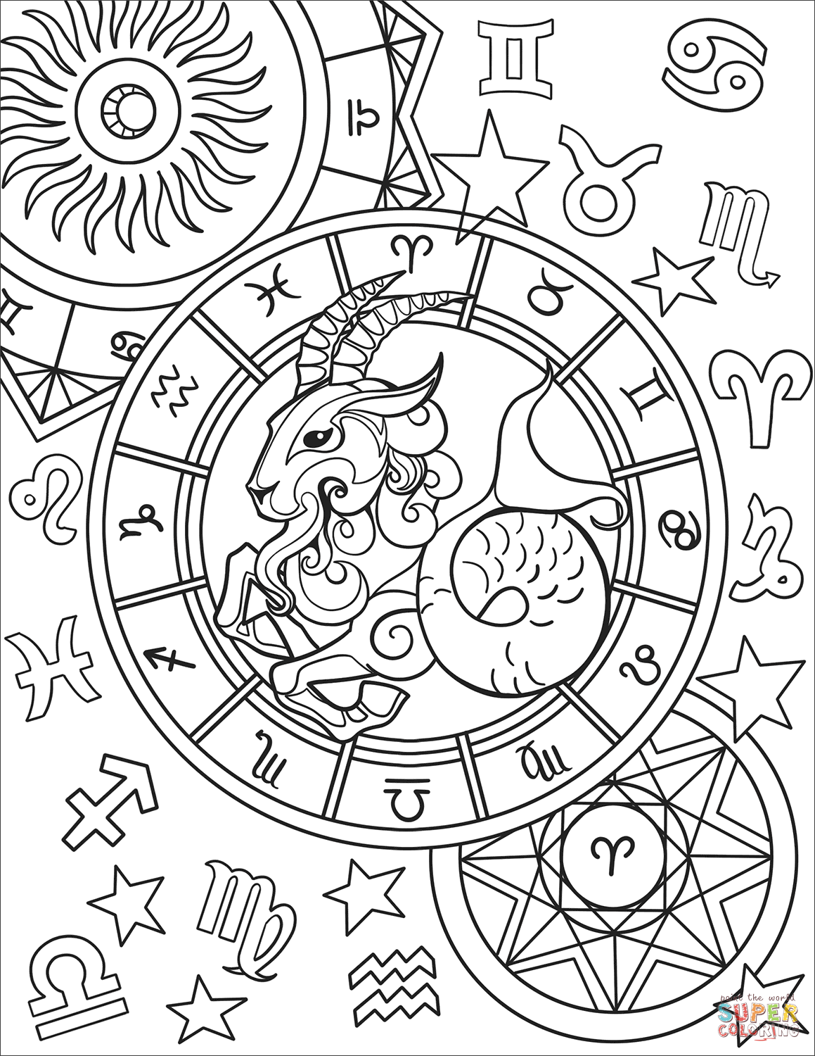 Capricorn Zodiac Sign Coloring Page Free Printable Coloring Pages Free Printable Coloring Pages Zodiac Signs Colors Coloring Pages