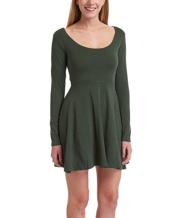 Pine Long Sleeve Fit Flare Dress Flare Dress Fit Flare Dress Dresses