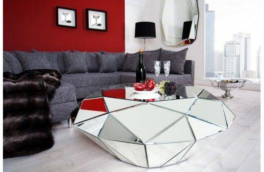 Table Basse En Miroir Diamant Multiples Facettes En Verre De Qualite Table Basse Table Basse Design Table Basse Miroir