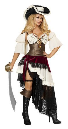 Women Halloween Gothic Pirate Cosplay Costume Dress Party Cloth Free Size HOT