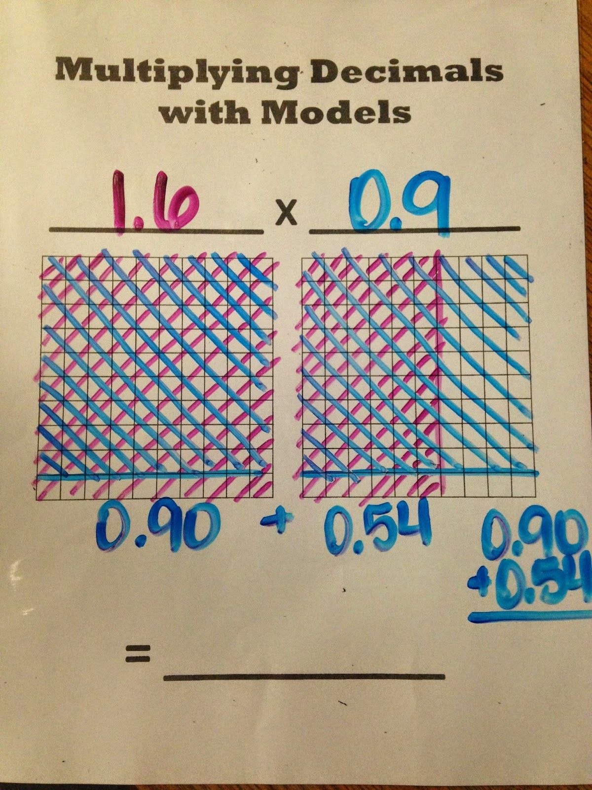 Multiplying Decimals With Models Oh How I Love Sheet