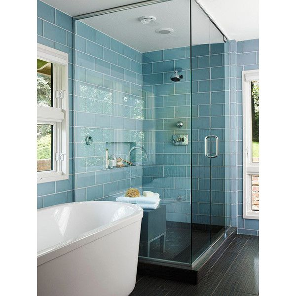 bathrooms - freestanding tub stacked blue glass tiles shower ...
