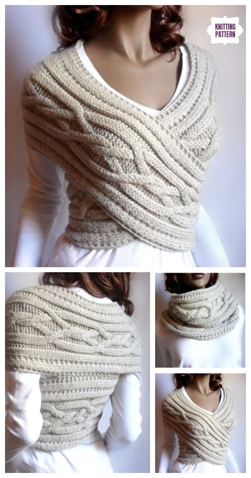Woman Cable Sweater Cowl Vest Knitting Pattern #knittingideas