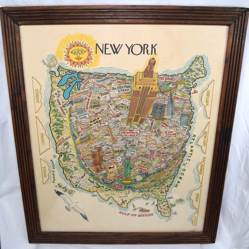 Vintage new york city map wall art illustrated typography bright wtc vintage new york city map wall art illustrated typography bright wtc soho empire gumiabroncs Gallery