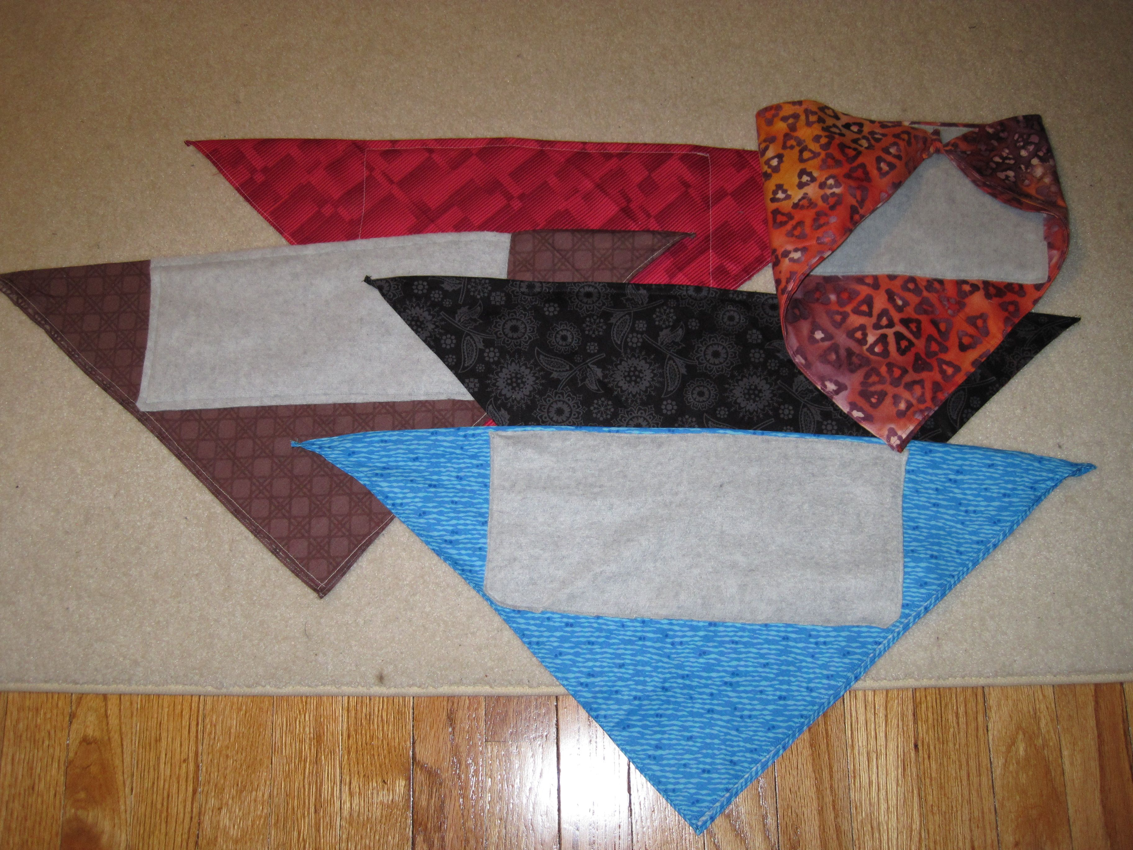 I made us some fleece lined bandanas for our ski vacation