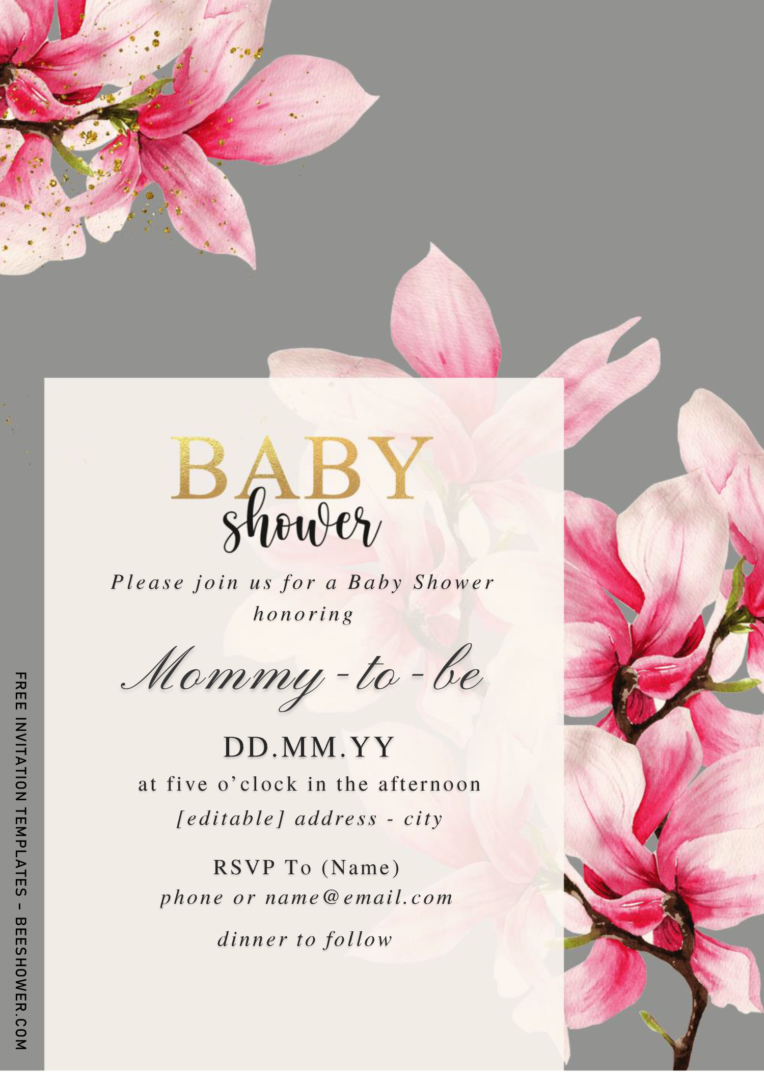 Magnolia Baby Shower Invitation Templates Editable With Microsoft Free Printable Baby Shower Invitations Invitation Template Baby Shower Invitation Templates