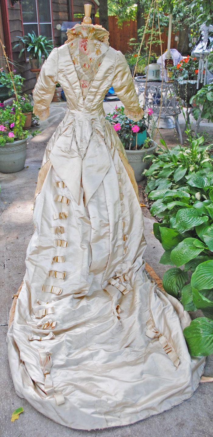 Antique dress brocade bustle piece gown with train museum de