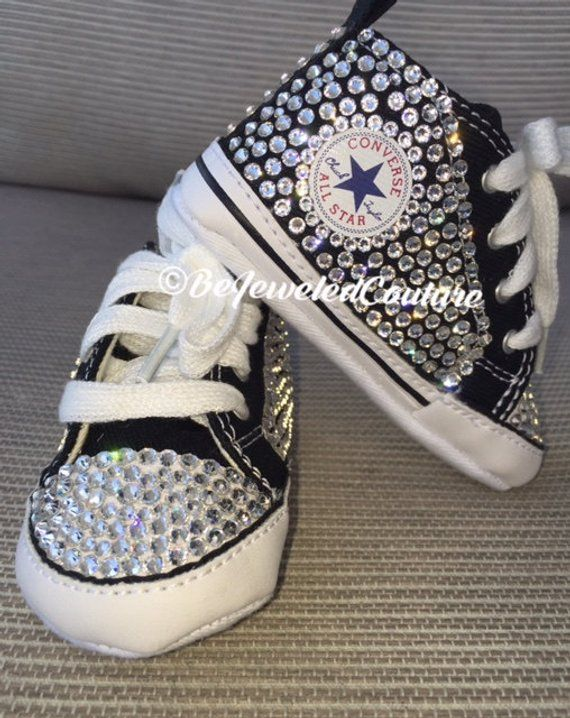 18b28ea94776 Swarovski crystal baby girl converse shoes black