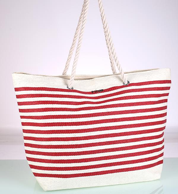 Plážová taška zo syntetickej rafie, červená