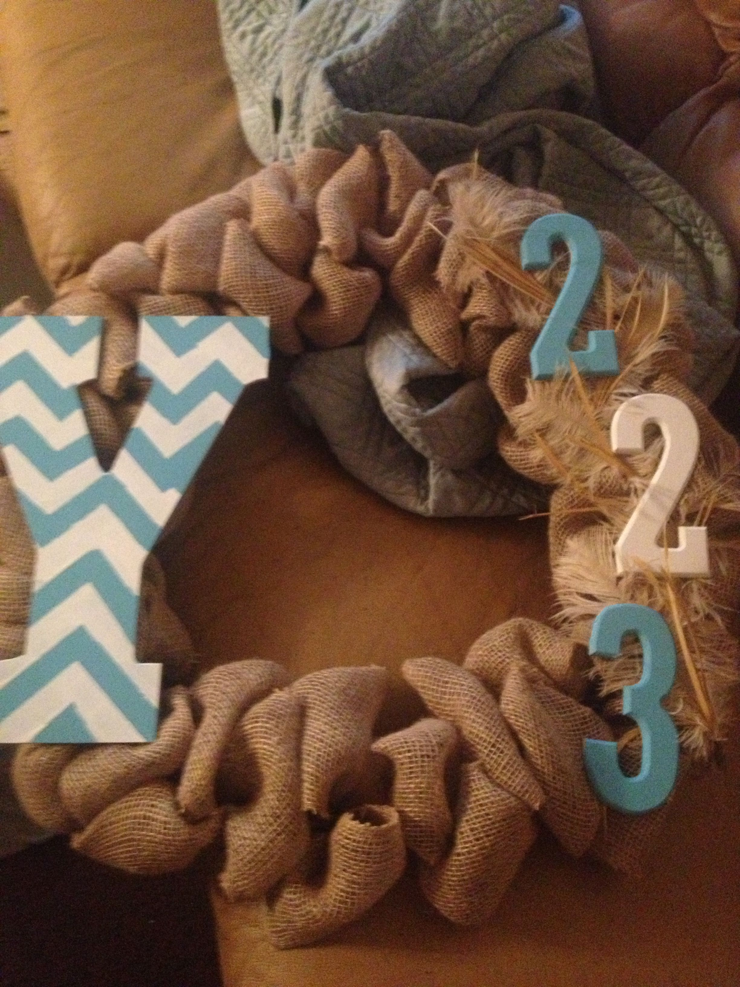 My new wreath for our new apt....last name initial and address :)
