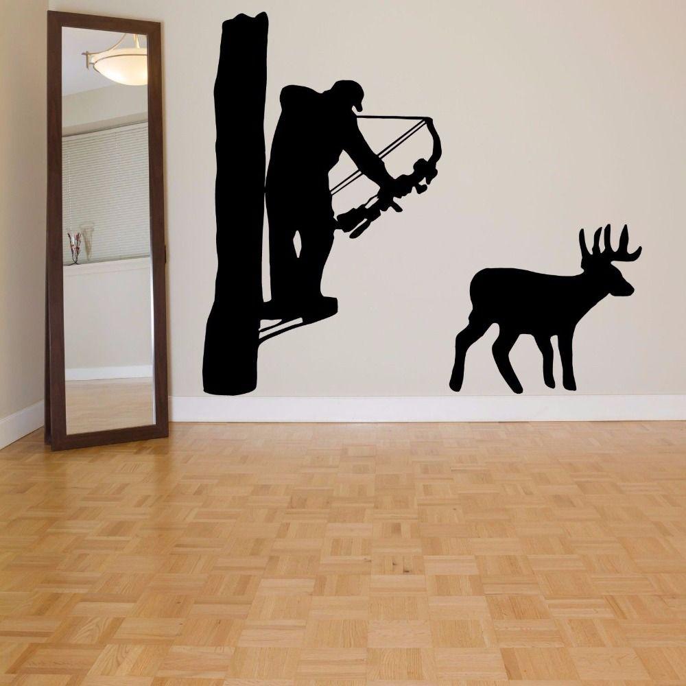 Hunter Vinyl Wall Decal Hunter Man Hunting Deer Bow Mural Art Wall Sticker  Living Room Bedroom