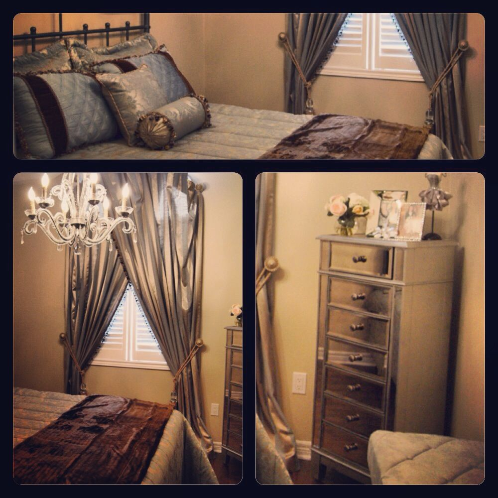 Pretty guest bedroom in soft champagne silver and soft