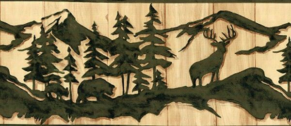 Deer Bear Moose Silhouette Wallpaper Border Clearance Home