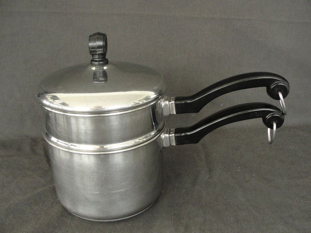 Vintage Farberware 1 2 Quart Double Boiler Aluminum Clad Stainless Steel